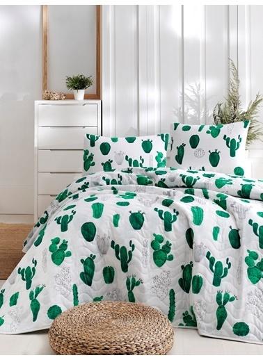 Eponj Home Kapitone Yatak Örtüsü Seti Çift Kişilik Kaktüs  Yeşil